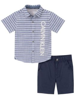 Toddler Boys Stripe Chambray Woven Shirt with Twill Short Set, 2 Piece