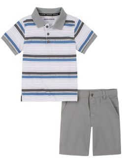 Toddler Boys Stripes Woven Shirt with Twill Short Set, 2 Piece