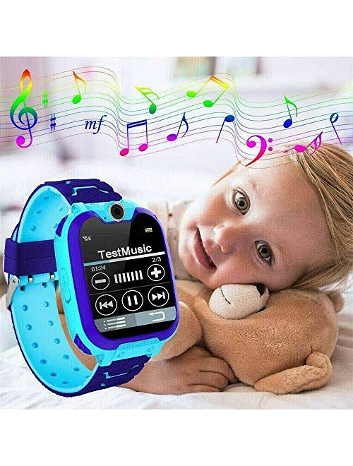 Smart Watch for Kids, Waterproof Touch Screen Smartwatch with Call Camera Games Music Player Recorder Alarm, Smart Phone Watch with Positioning for Girls Boys (Knight Blu