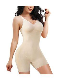 Women Waist Trainer Bodysuit Tops Slim Full Body Shapewear Seamless Sexy V Neck Leotard Stretchy Jumpsuit