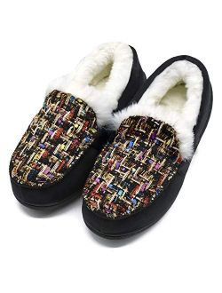 ONCAI Women's-Moccasin-Slippers-Suede-Plaid-House-Slippers Indoor and Outdoor Faux Fur Lined Winter Slip-On Shoes with Cushion Memory Foam Warm Plush Tweed