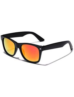 Kids Classic Horn Rimmed Frame Reflective Mirror Lens Sunglasses for Ages 4 to 12