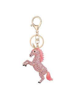 Funbase Crystal Unicorn Keychain 3D Horse Keyring Charm Purse Handbag Pendant