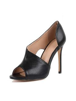 Womens High Heels Sandals Stiletto Slip On Open Toe Cutout D'Orsay Heeled Pumps Shoes