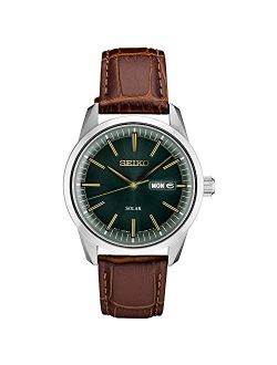 Men's Stainless Steel Japanese Quartz Leather Calfskin Strap, Brown, 0 Casual Watch (model: Sne529)