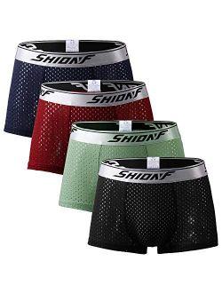 Men's Underwear Performance Boxer Briefs Mesh Sports Trunks Quick Dry Active Underwear