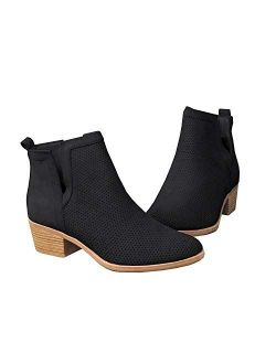 Womens Fall Cutout Ankle Boots Block Chunky Stacked Heel Slip On Fall Western Booties