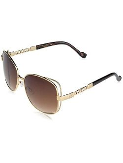 Women's J5512 Large Vented Square Metal Sunglasses With Chain Detailed Temple & 100% Uv Protection, 60 Mm