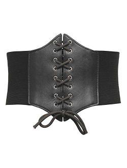 Womens Corset Belt Vintage Lace-up Cinch Elastic Waist Belt