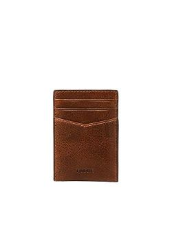 Men's Leather Minimalist Magnetic Card Case With Money Clip Front Pocket Wallet