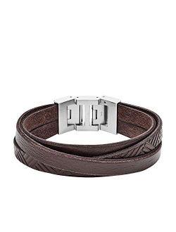 Vintage Casual Textured Brown Leather Wrist Wrap Cuff Bracelet