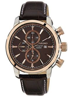 Men's Snaf52p1 Sport Chronograph Brown Dial Brown Leather Watch