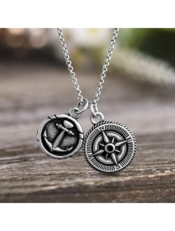 Men's Oxidized Anchor And Compass Design Coin Charm Chain Necklace In Stainless Steel, Silver, 28