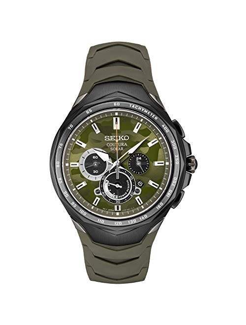 Seiko Men's Stainless Steel Japanese Quartz Silicone Strap, Green, Casual Watch (Model: SSC747)