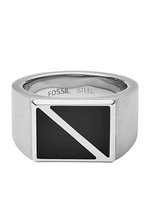 Fossil Dive Black Agate Signet Ring