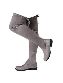 Secret Obsession Women's Thigh High Stretchy Boots Block Heel Side Zipper Back Lace Over The Knee Casual Boots