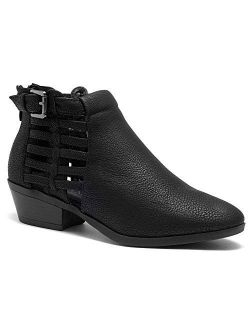 Natania Women's Western Ankle Bootie Closed Toe Casual Low Stacked Heel Boots