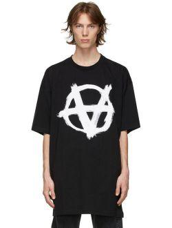 Black Oversized Anarchy Gothic Logo T-Shirt