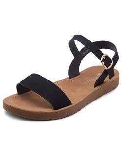 Women's Monday Open Toes One Band Ankle Strap Flat Sandals