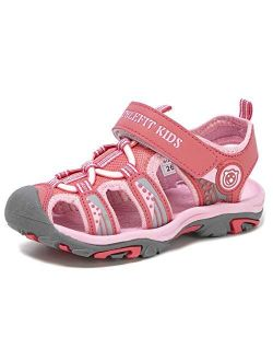 Athlefit Boys Girls Soft Sole Closed Toe Sport Hiking Athletic Sandals Beach Water Outdoor Sandals(Toddler/Little Kid/Big Kid)