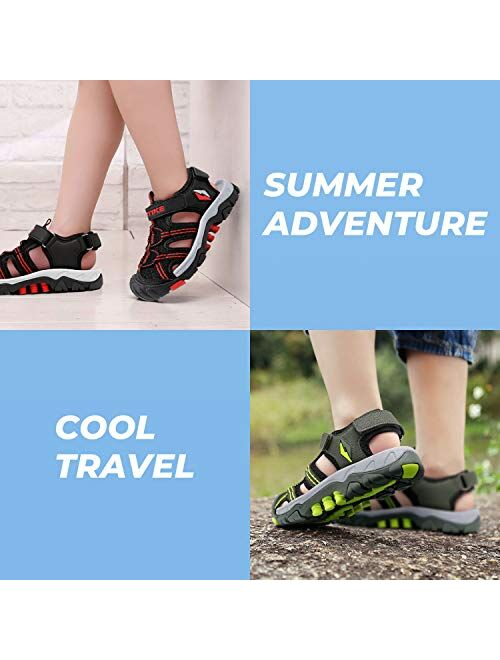 Kids Sandals Closed-Toe Outdoor Sport Sandals for Girls Summer Beach Two Straps Boys Sandals Leather(Toddler/Little Kid/Big Kid)