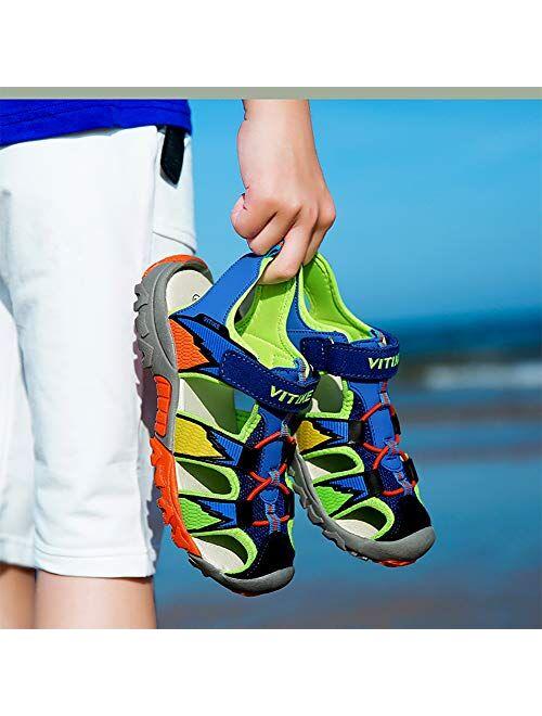 Littleplum Kids Sandals Summer Closed-Toe Beach Outdoor Sport Water Sandals for Boys Girls Quick-Drying Upper Mesh(Toddler/Little Kid/Big Kid)