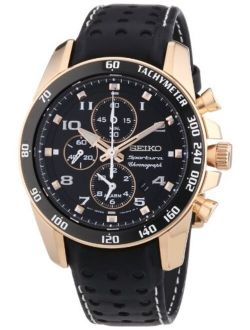 Men's Snae80 Leather Synthetic Analog Black Watch