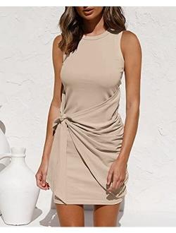 LILLUSORY Women's Summer Casual Sleeveless Tank Dress 2021 Crewneck Bodycon Ruched Tie Waist Mini Dresses
