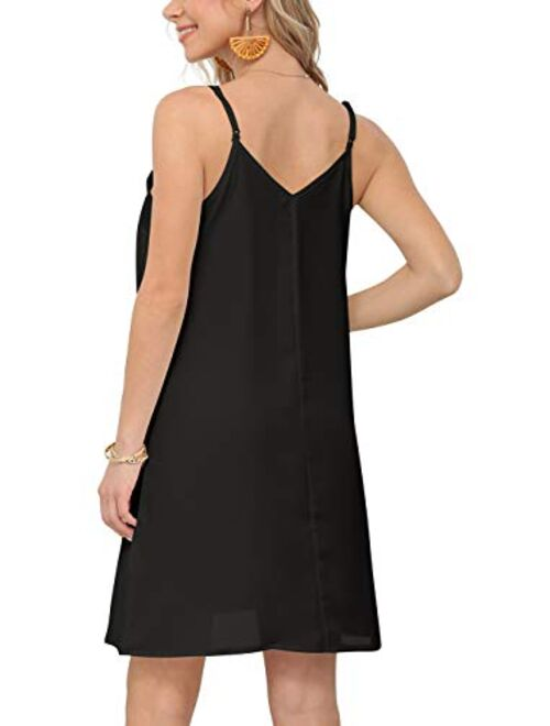 Feiersi Women Summer Spaghetti Strap Button Down V Neck Sleeveless Casual Mini Dress