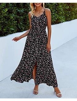 BTFBM Women Summer Spaghetti Strap V Neck Polka Dot Floral Print A-Line Button Down Casual Sleeveless Slit Maxi Dresses