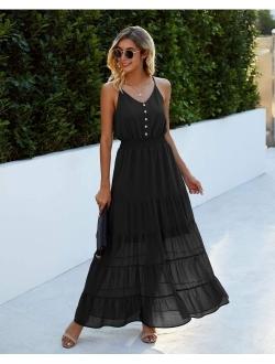 Women's Causal Summer Dress Spaghetti Strap Sleeveless High Waist Beach Long Maxi Dresses