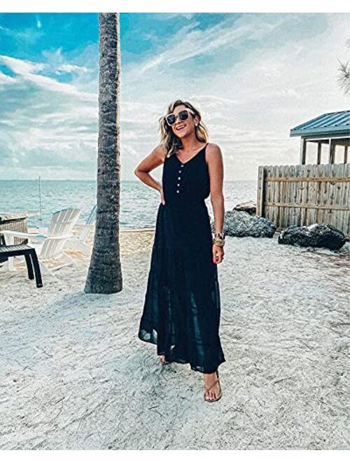 PRETTYGARDEN Women's Causal Summer Dress Spaghetti Strap Sleeveless High Waist Beach Long Maxi Dresses