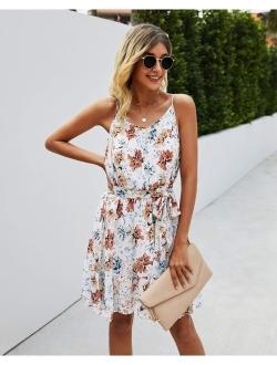 Women's Summer Spaghetti Strap Dresses Floral Print Crewneck Sleeveless Ruffle Mini Short Dress With Belt