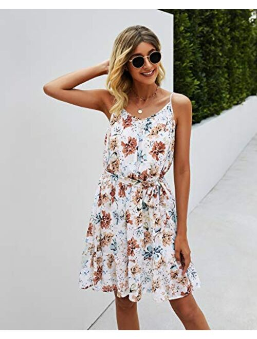 PRETTYGARDEN Women's Summer Spaghetti Strap Dresses Floral Print Crewneck Sleeveless Ruffle Mini Short Dress with Belt