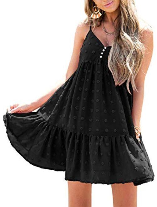 Azokoe 2021 Women Summer Swiss Dots Dresses Casual V Neck A-Line Swing Mini Dress