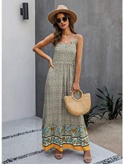KIRUNDO Summer Women's Spaghetti Maxi Dress V Neck High Waist Backless Adjustable Straps Floral Boho Dress Party Beach Dress