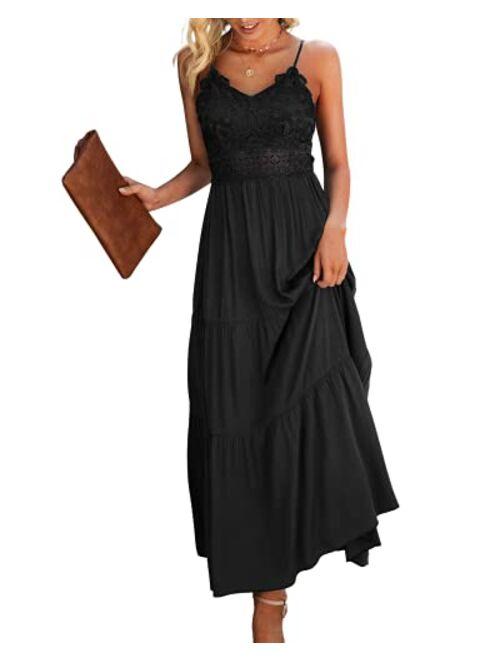Dokuritu Women's Beach Crochet Lace Maxi Dress Summer Spaghetti Strap Maxi Dress