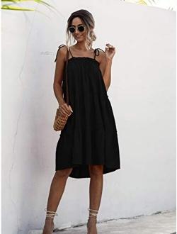 Women's Sleeveless Spaghetti Strap Tiered Layer Frill Knot Loose Summer Cami Dress