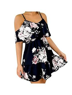 Cold Shoulder Spaghetti Strap Dress Floral Ruffle Sleeve Sundress Flowy Pleated Summer Dress for Women Casual Summer