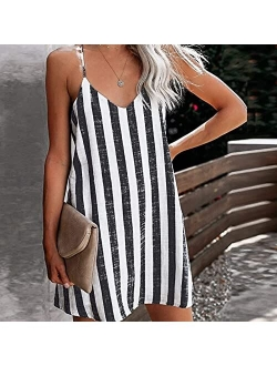 XINYIYI Women Casual Tunic Dress Summer Beach Striped Print Loose Sling Mini Dress Evening Party Swing Tshirt Dress