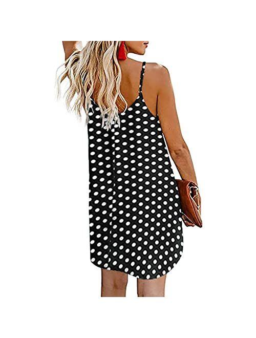 XINYIYI Summer Beach Sling Dress for Women Printed Button Down Swing Flowy Dress Casual Party Cocktail Tunic Shift Dress
