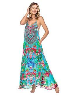 La Moda Clothing Women's Spaghetti Strap V-Neck Casual Summer Resort Cruise Pool Party Maxi Dress