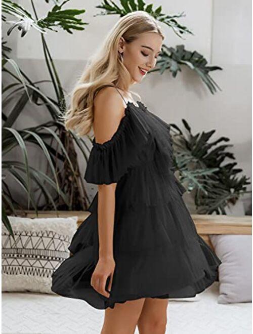Miessial Women's Summer Ruffle Spaghetti Strap Mini Dress Off The Shoulder Tulle A Line Short Dress