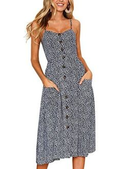 OLUOLIN Women's Summer Floral Print Strap Casual Button Midi Dress with Pockets