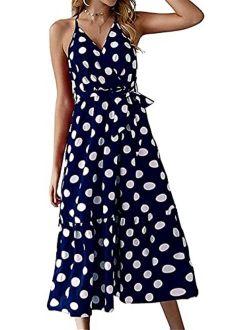 RAINFLTOU Casual Dress Women's Summer Wrap V-Neck Polka Dot Print Spaghetti Strap Long Dress