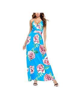 HSMQ Womens Dresses Summer V-Neck Sleeveless Casual Long Dress Tie-dye Printed Party Beach Dress