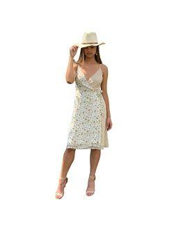 CASA DE FASHION Women's Summer Sleeveless Spaghetti Strap Floral Wrap Dress