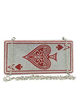 Novelty Poker Card Queen Evening Bags and Clutches for Women Crystal Clutch Bag Rhinestone Handbags Party Purse