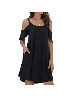 Summer Dresses for Women Beach ZiSGUP Women's Summer Casual Dress Cold Shoudler Ruffle Sleeves Dresses with Pocket