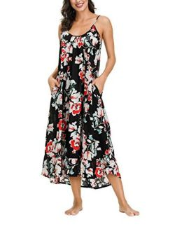wexcen Women's V-Neck Floral Print Spaghetti Strap Boho Beach Long Maxi Summer Casual Dress with Pockets